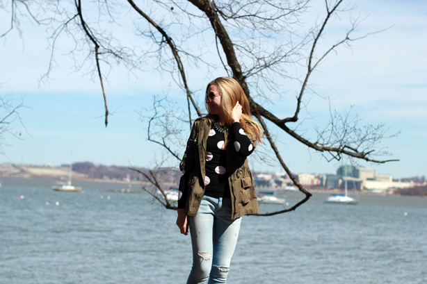 polka dots, denim, military jacket