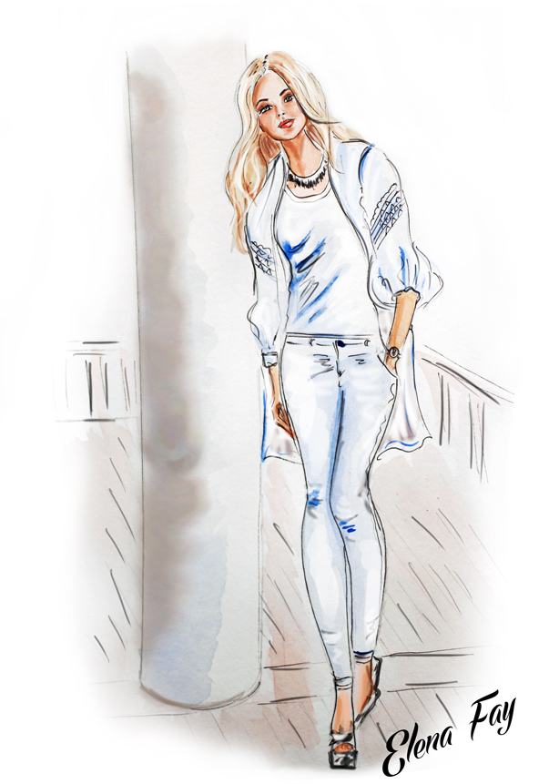 fashion illustration, watercolor painting, art, fashion sketch