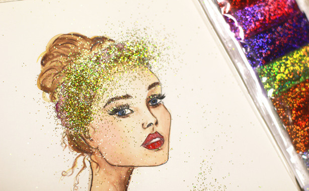 embellished artwork, glitters for painting, how to work with glitters