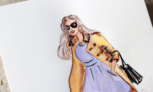 fashion illustration, art by Elena Fay, fashion sketch, art