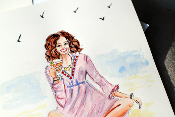 girl on the beach sketch, fashion illustration, watercolor illustration, summer illustration