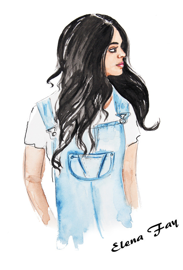 gorgeous brunette illustration, watercolor painting, fashion art, sketch