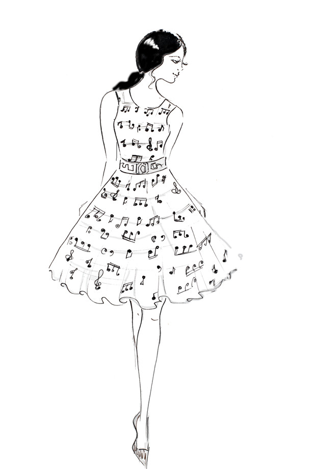black and white fashion illustration, ink sketch, fashion art