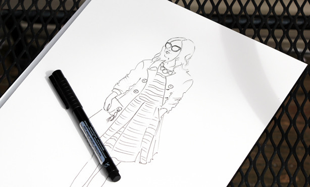 ink illustration, girl in a trench coat fashion illustration, fashion sketch, watercolor sketch, fashion art,