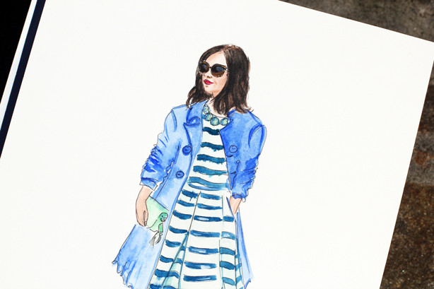 girl in a trench coat fashion illustration, fashion sketch, watercolor sketch, fashion art,