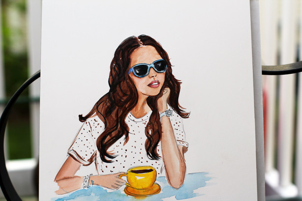 having coffee illustration, watercolor illustration, fashion sketch, watercolor sketch, art by Elena Fay