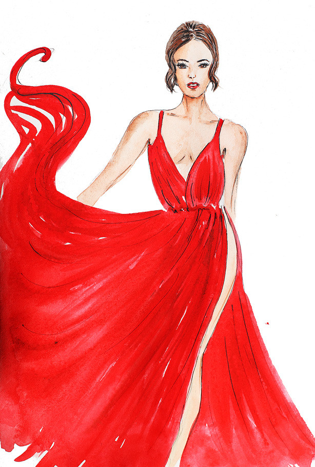 fashion illustration, watercolor illustration, red gown painting, gorgeous model painting, art by Elena Fay