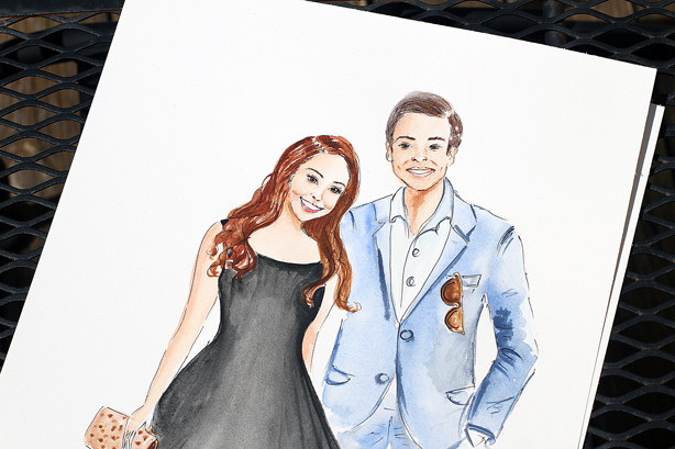 couple illustration, custom family illustration, watercolor sketch, art by Elena Fay