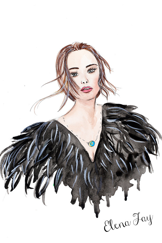 fashion illustration, trendy illustration, fashion painting of Kristina Bazan, gorgeous portrait