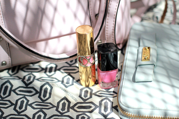 Rebecca Mincoff bag, Badgley Mischka wallet, YSL lipstick