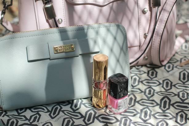 Rebecca Minkoff bag, Badgley Mischka wallet, YSL lipstick