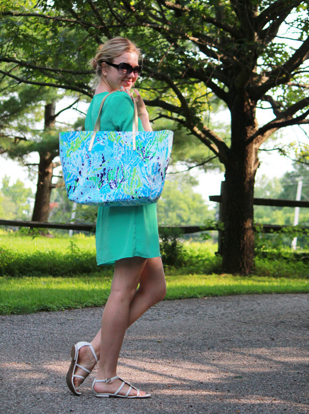Pink Blush dress c/o, tote Lilly Pulitzer