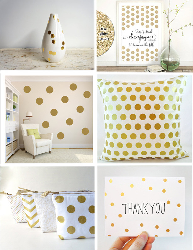 Etsy love, gold polka dots items, polka dots obsession