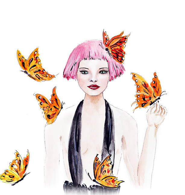girl with butterflies illustration, fashion illustration, watercolor art, illustration by Elena Fay