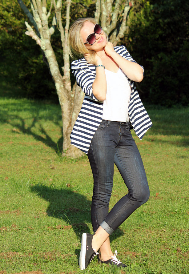 sheinside blazer, striped blazer, basic white tee, fall look