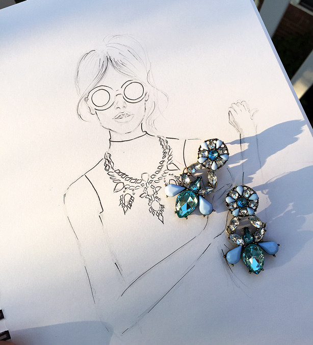 fashion illustration, baublebar earrings, dc fashion blog