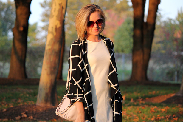River Island duster coat, Baublebar earrings, Rebecca Minkoff