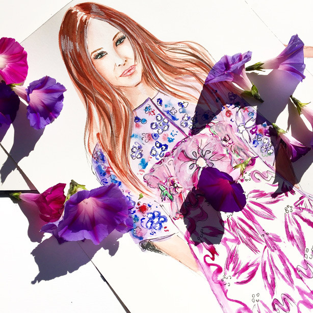 Sarah Jessica Parker illustration, fashion illustration