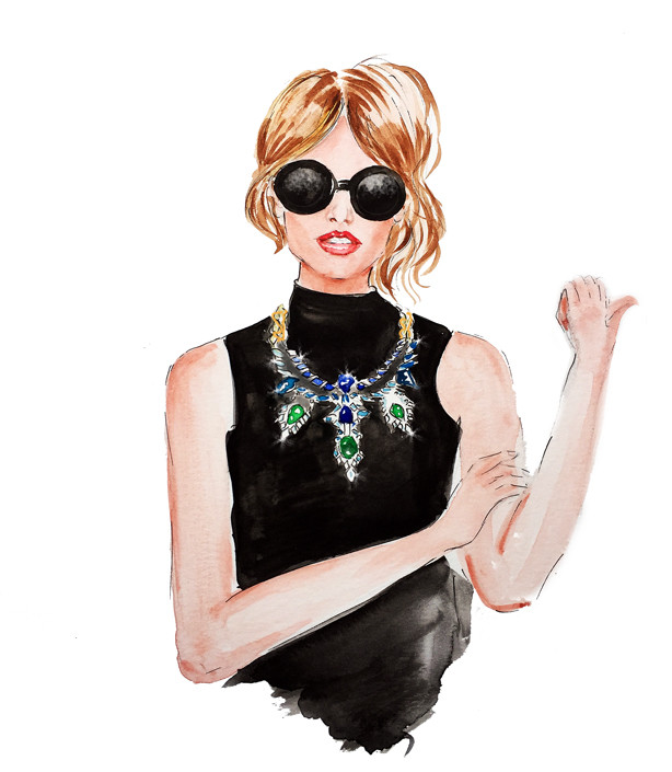 fashion illustration, watercolor illustrations, Emma Roberts illustration