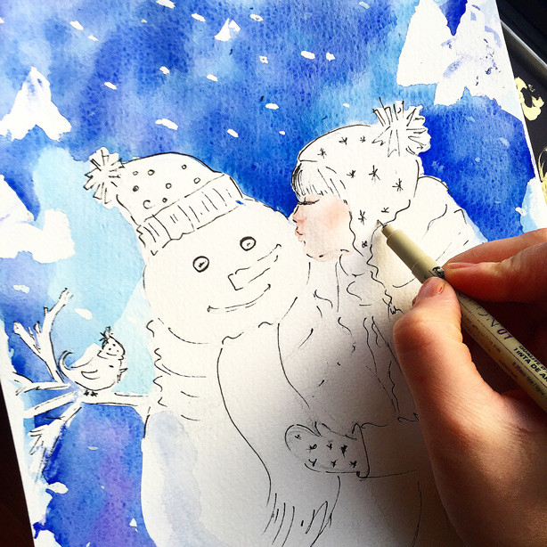 holiday illustration, cute illustration, snowman sketch, art by Elena Fay