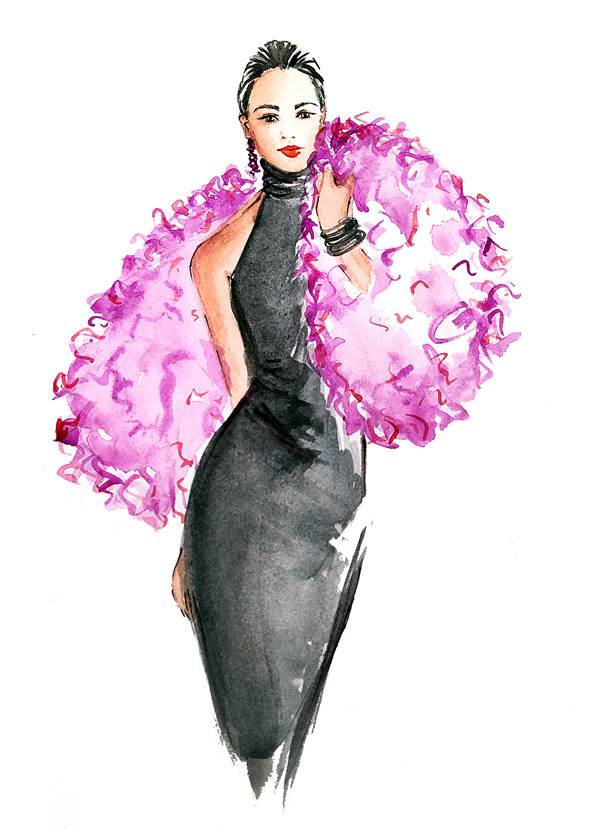 fashion illustration, pink fur, watercolor art, creative blog