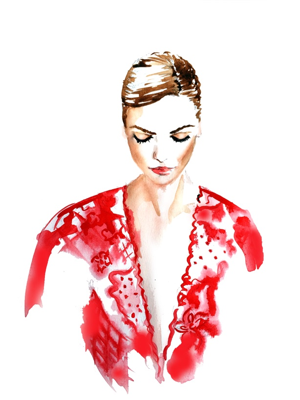 fashion illustration, Valentino illustration, watercolor art