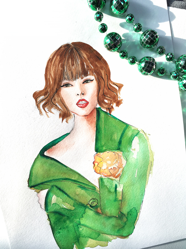 fashion illustration, watercolor art, art by Elena Fay