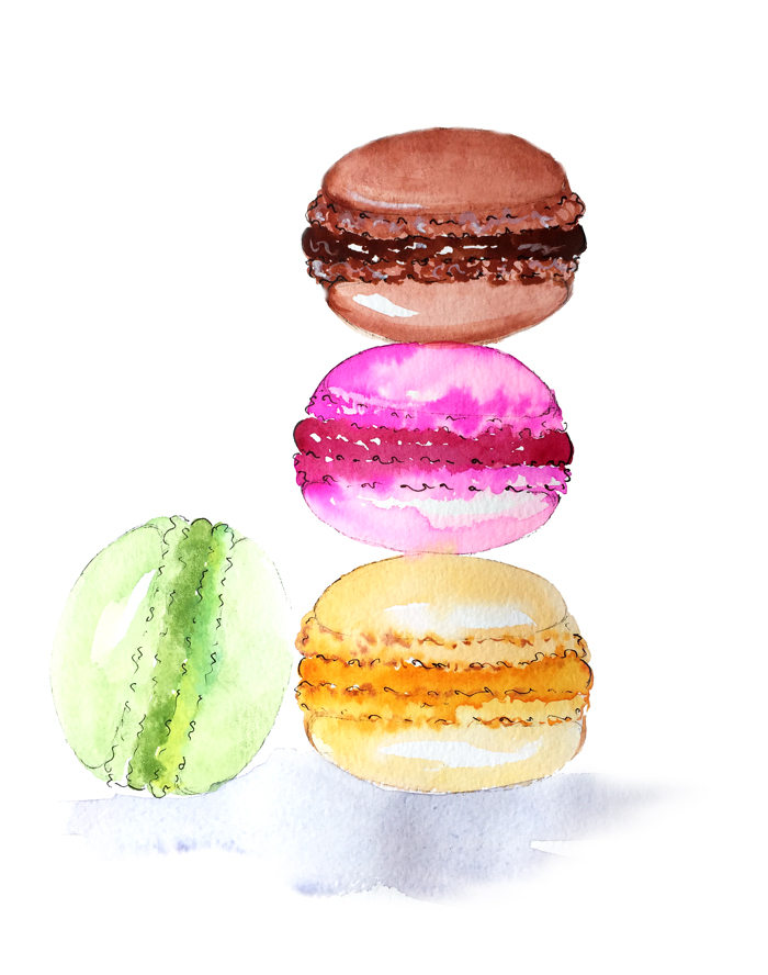 fashion illustration, macarons illustration, watercolor art by Elena Fay, fashion sketch
