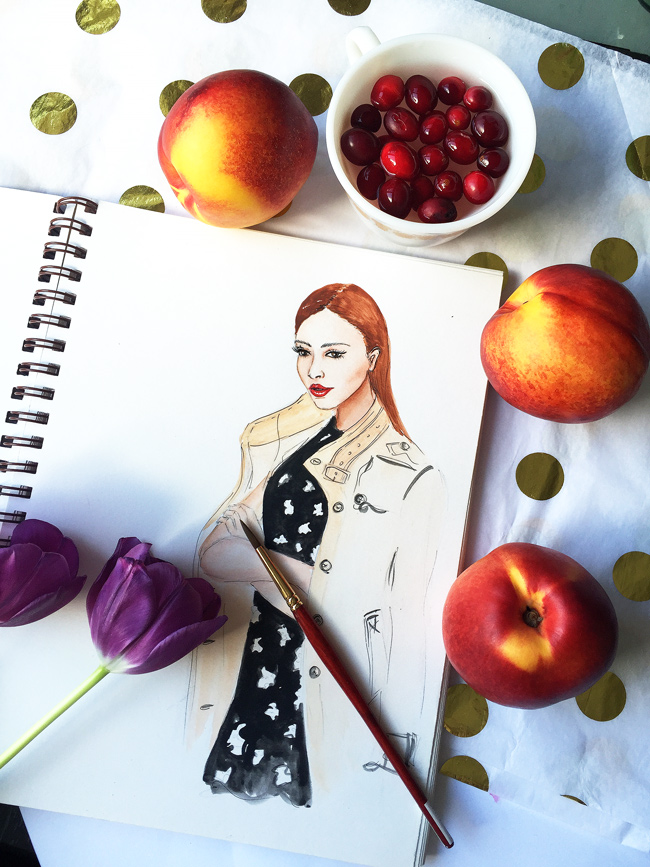 fashion illustration, watercolor art, art by Elena Fay, sketch