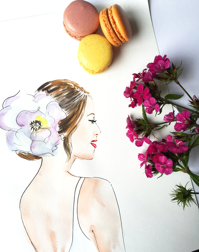 delicate watercolor painting, fashion art, watercolor art by Elena fay