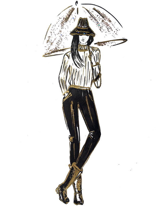 fashion illustration, fashion art, sketch, sparkly sketch