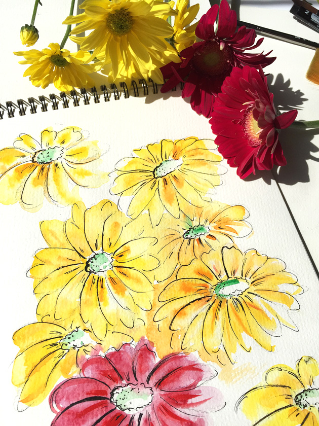 watercolor art, creative blog, art by Elena Fay, yellow flowers in watercolor