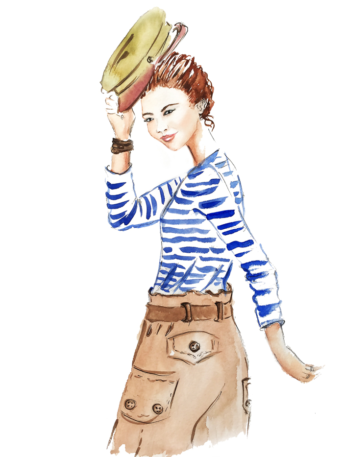 fashion illustration, watercolor illustration, art, art by Elena Fay
