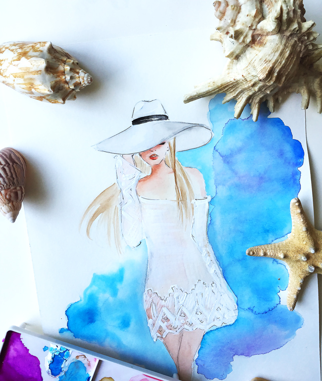 watercolor art, fashion illustrations, art by Elena Fay