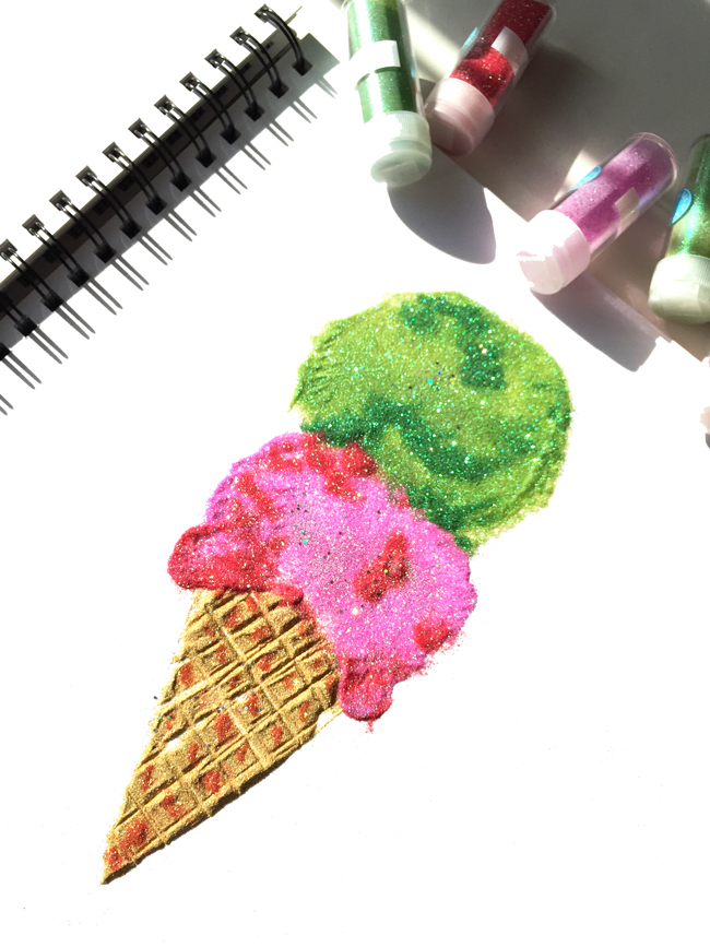 ice cream from glitter, glitter, sparkly illustration