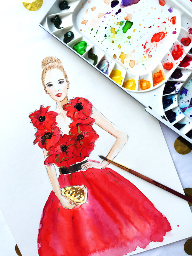 fashion illustration, watercolor art, fashion art, poppy delevingne, fashion illustrator