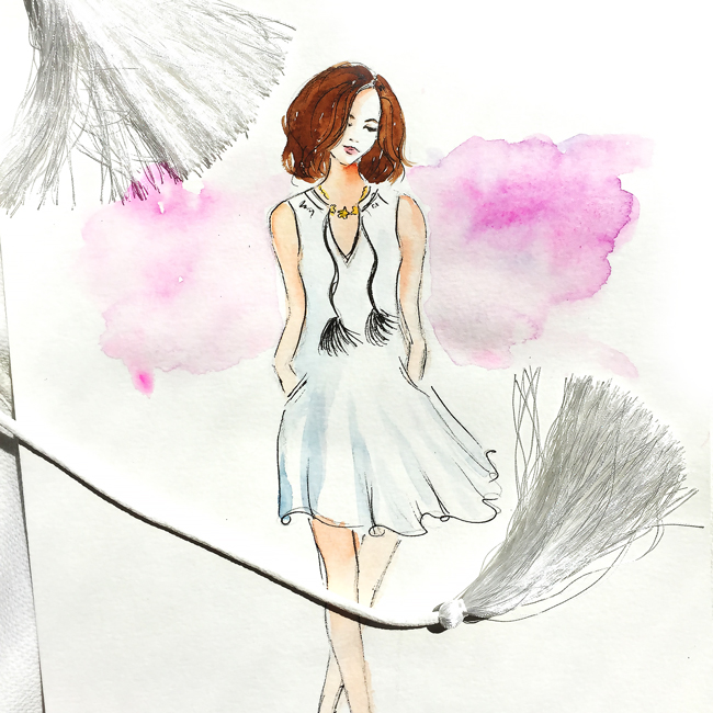 fashion illustration, watercolor sketch, fashion art,