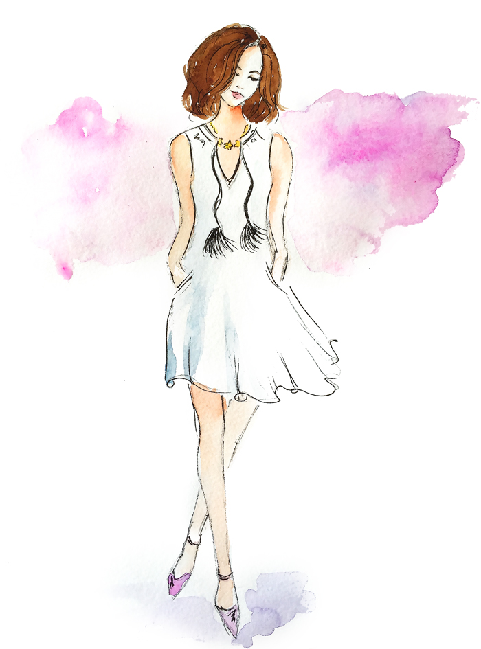 fashion illustration, watercolor sketch, fashion art, drawing