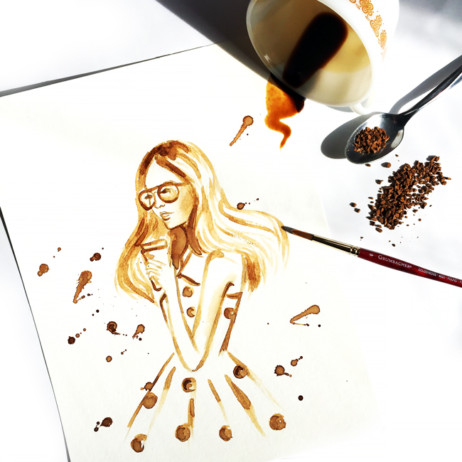 coffee art, coffee painting, fashion illustration