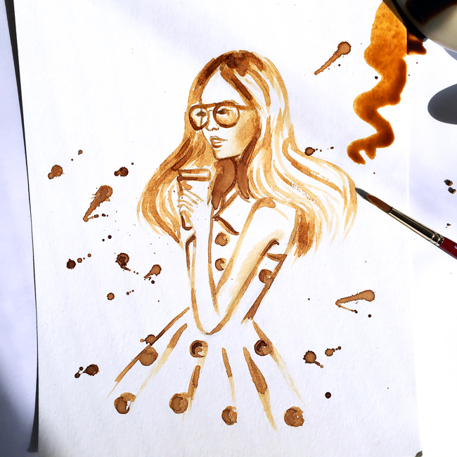 coffee painting, coffee art, fashion illustration