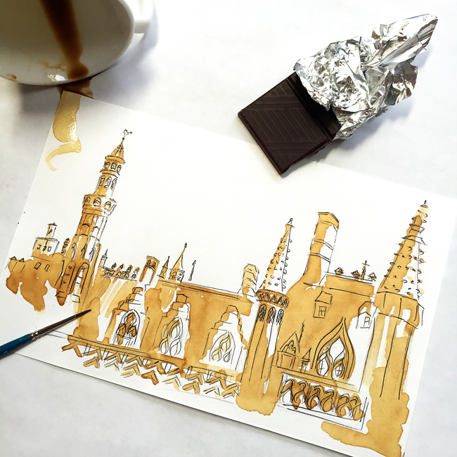 coffee painting, coffee illustration, bruges painting