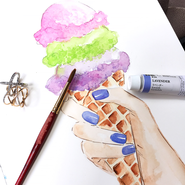ice cream watercolor illustration, fashion illustration, ice-cream sketch, ice-cream painting