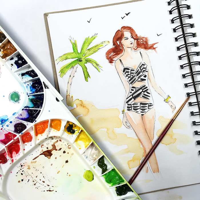 swimwear illustration, summer sketch, fashion illustration