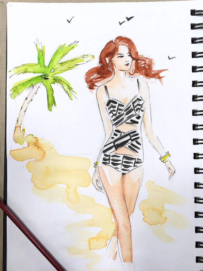 swimwear illustration, summer sketch, fashion illustration, fashion art by Elena Fay