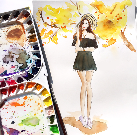 watercolor illustration, fashion illustration, fashion art by Elena Fay, DC fashion illustrator