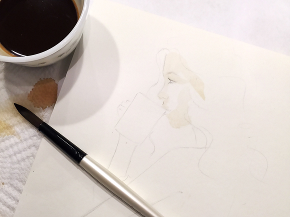step by step painting, how to paint with coffee