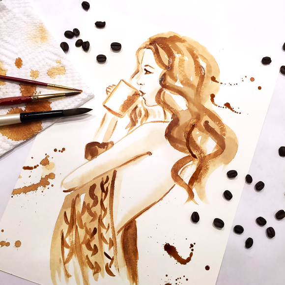 coffee painting, coffee illustration, fashion illustration, coffee art