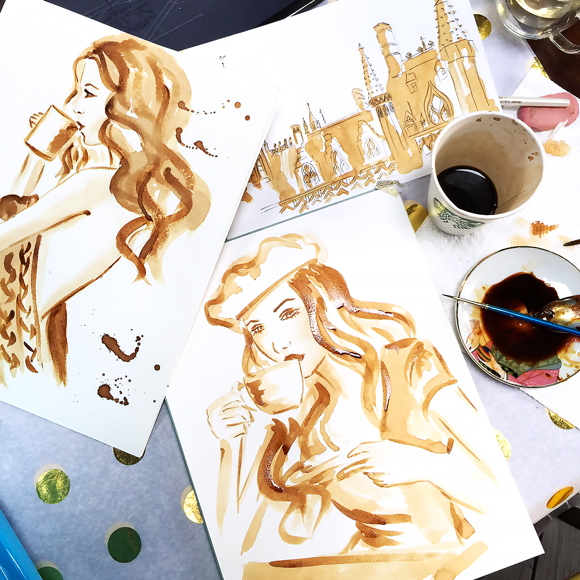 coffee painting, coffee art, painting with coffee, art