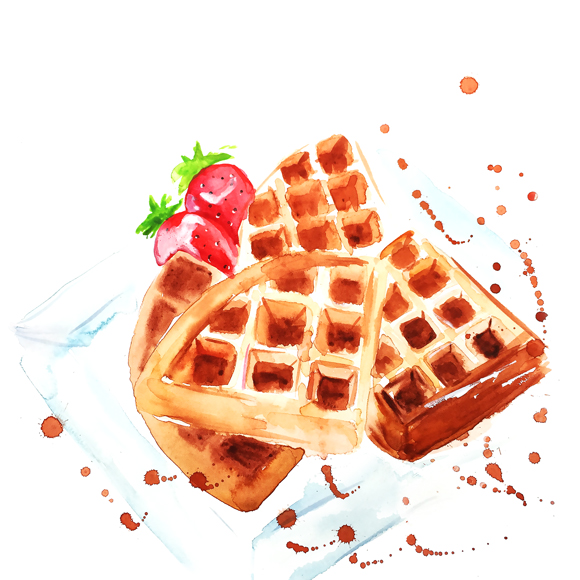 waffles watercolor illustration , watercolor painting, food illustration