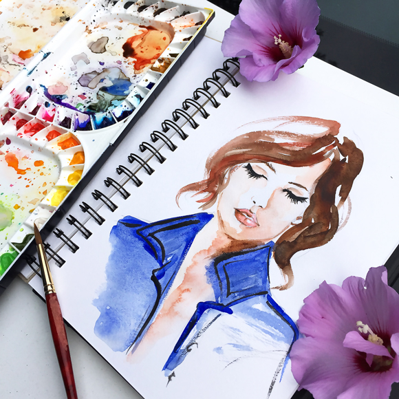fashion illustration, watercolor art